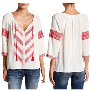 Lucky Brand Chevron Embroidered Peasant Blouse
